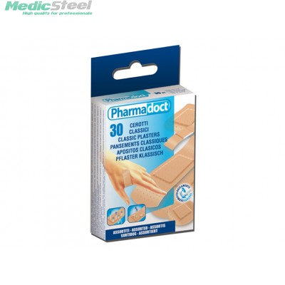 PHARMADOCT CLASSIC PLASTERS 6 assorted sizes - carton of 12 boxes of 30