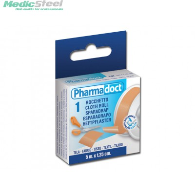 PHARMADOCT CLOTH ROLL FABRIC 5 m x 1.25 cm carton of 18 boxes