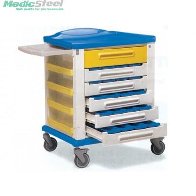 Medicijn wagen met 20 3 vaks bakjes