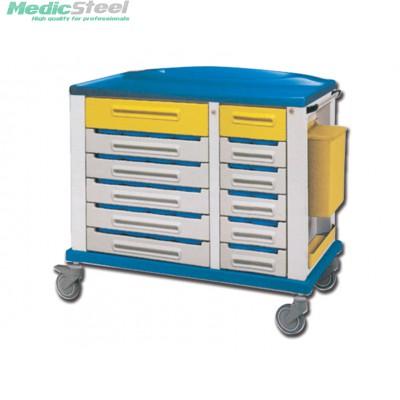 Medicijn wagen met 30 3 vaks bakjes