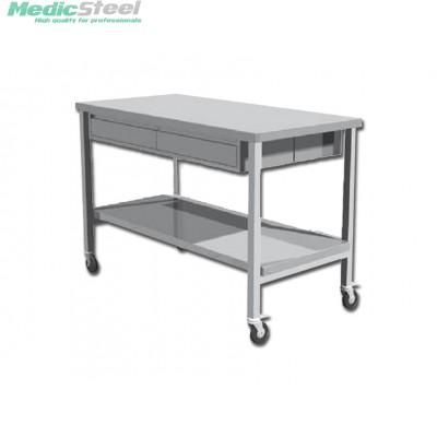 Werktafel rvs verrijdbaar  met laden