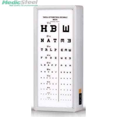 MIXED DECIMAL OPTOMETRIC CHART 3 m