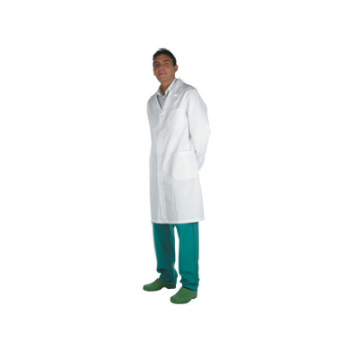 DOCTOR'S WHITE COAT 100% COTTON unisex with press stud