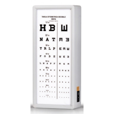 MIXED DECIMAL OPTOMETRIC CHART 3 m not illuminated