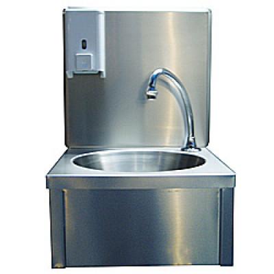 Handenwasbak rvs met kraan temperatuur instelbaar + zeepdispenser + losse achterwand wandmodel