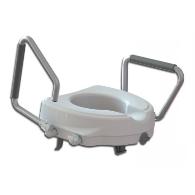 RAISED TOILET SEAT with reclining armrest